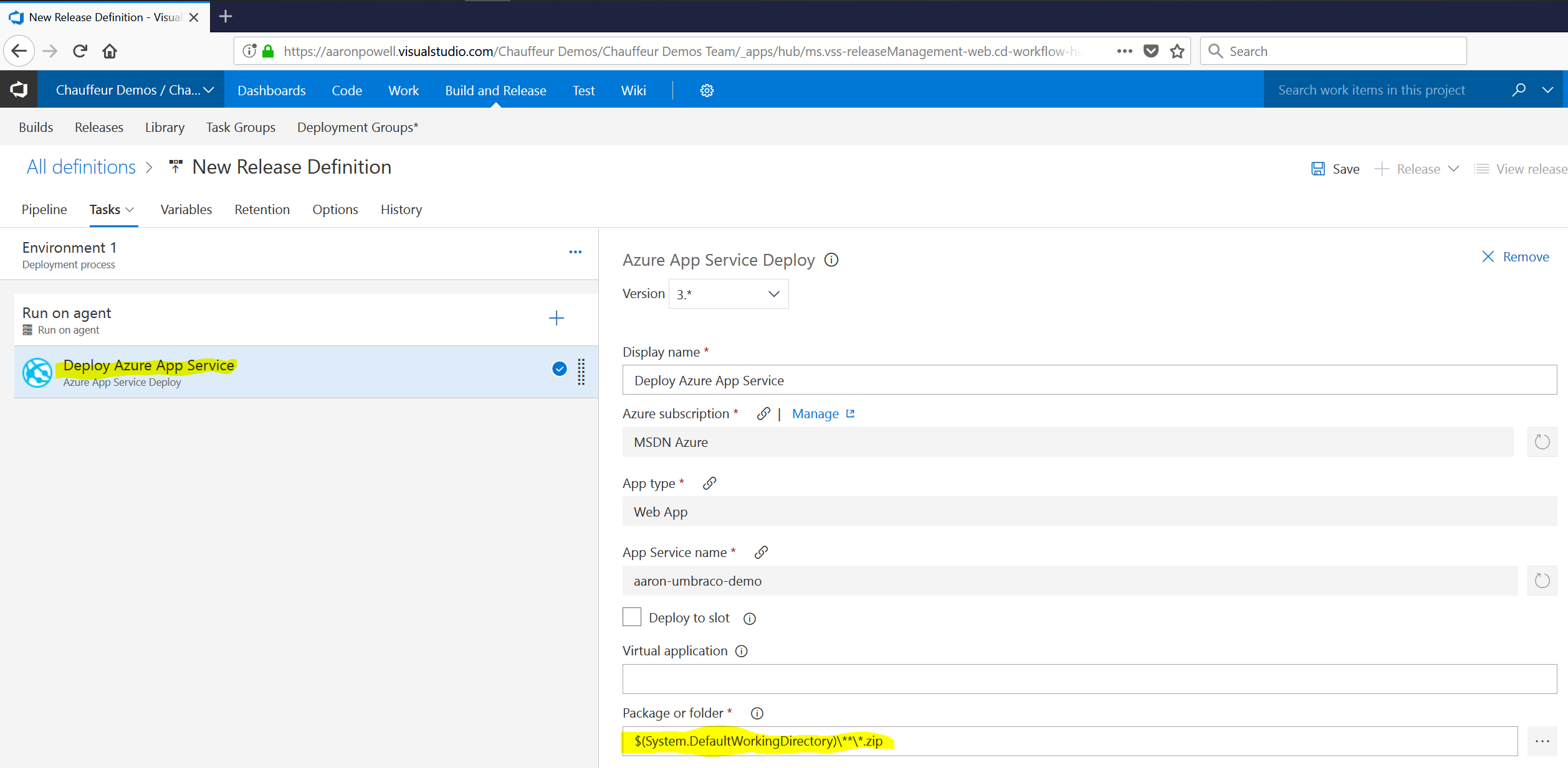 Deploying using VSTS to Azure | Chauffeur